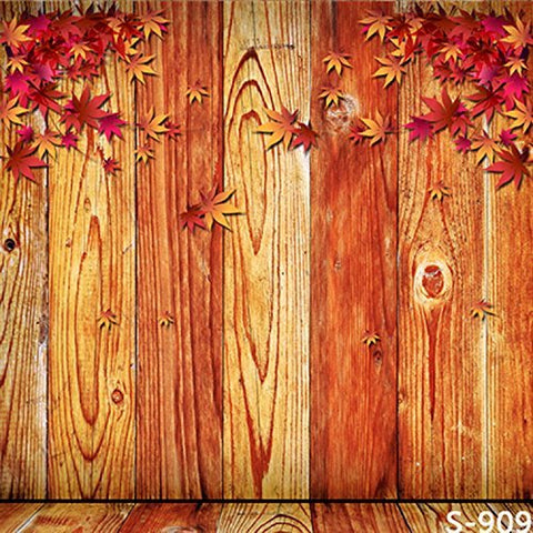 Maple Leaves Wood Wall Floor Photography Studio Backdrop Background
