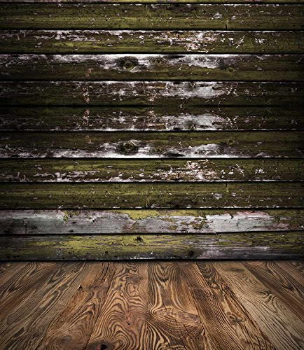 Dark Green Wood Wall Brown Floor Photography Studio Backdrop Prop Background