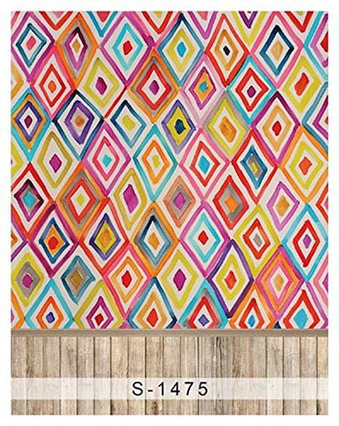 Colorful Diamond Shape Wood Floor Photography Studio Backdrop Background