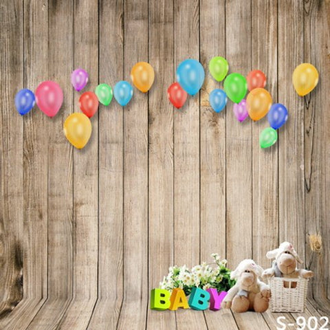 Baby Colorful Ballon Wood Wall Wood Floor Photography Studio Backdrop Background
