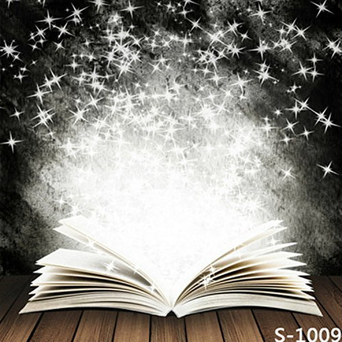 Open Book Stars Wood Floor Photography Studio Backdrop Background