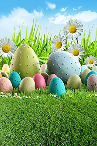 Colorful Easter Day Eggs Grass Photography Studio Backdrop Background