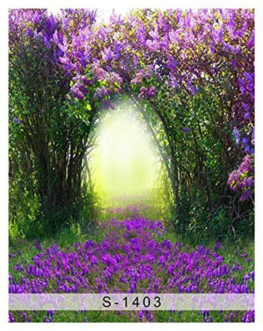 Purple Flower Doorway Photography Studio Backdrop Background