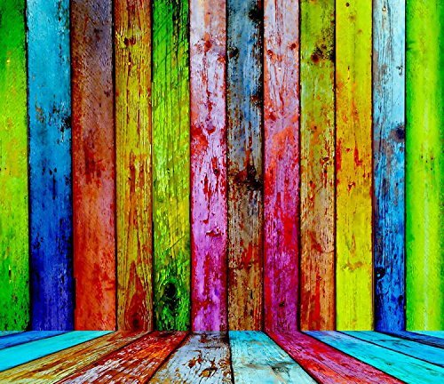 Colorful Wood Floor Wall Photography Studio Backdrop Prop Background