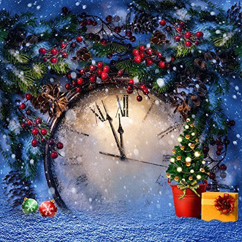 Xmas Christmas Big Watck Clock Photography Studio Backdrop Background
