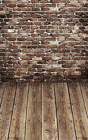 Brown Old Brick Wall Wood Floor Photography Studio Backdrop Prop Background