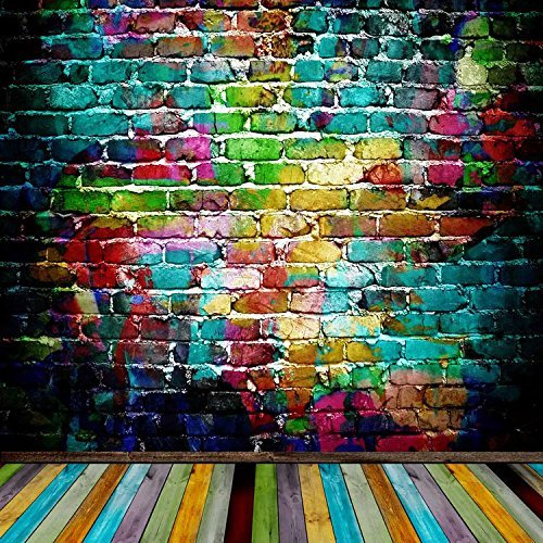 Colorful Multi Color Brick Wall Wood Floor Photography Studio Backdrop Background