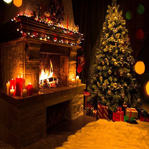 Christmas Tree Fireplace Gift Socks Candle Photography Studio Backdrop Background