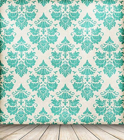 Green Damask Tufted Pattern Retro Wood Floor Photography Studio Backdrop Prop Background