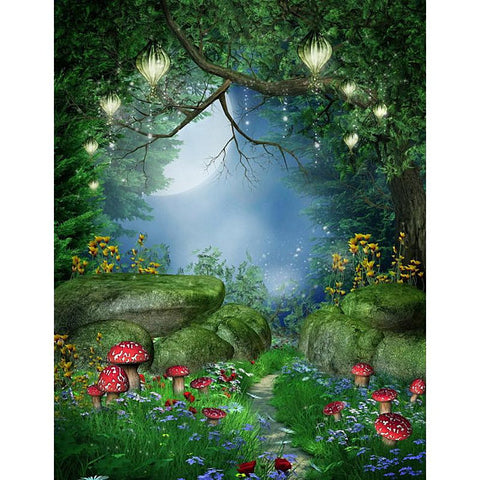 Fairy Tale Alice Wonderland Forest Grass Backdrop Photography Studio Background
