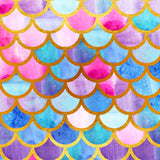Colorful Mermaid Scales Photography Studio Backdrop Background