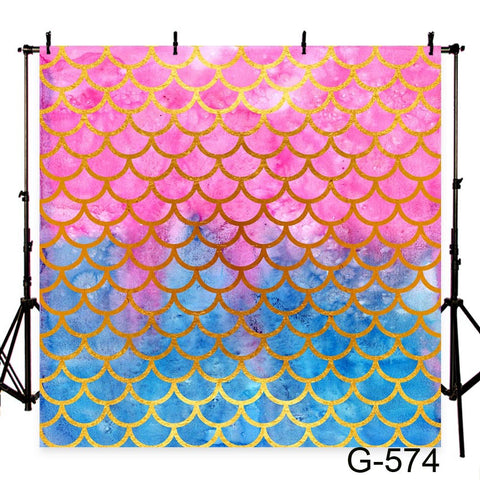 Pink Blue Mermaid Scales Photography Studio Backdrop Background