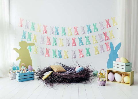 Colorful Rabbits Decor Easter Eggs Kids Children Happy Easter Backdrop Photography Props Studio Background