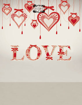 Red Hearts Love Letters Decoration Wall Valentine Backdrop Photography Studio Background
