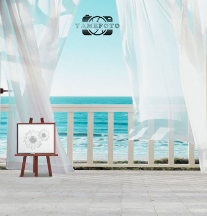 White Curtains Summer Sea Seaside Backdrop Photography Studio Background