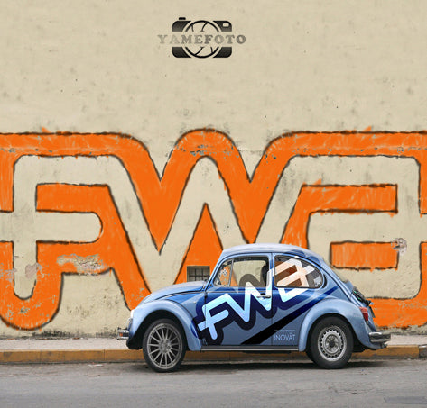 Graffiti Wall Blue Car Outdoor Scenery Backdrop Photography Studio Background