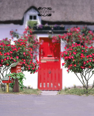 Red Flowers Door Fotografia Backdrop Photography Studio Background