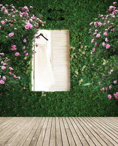 Pink Flowers Grass Wall White Wood Window Wedding Fotografia Backdrop Photography Studio Background