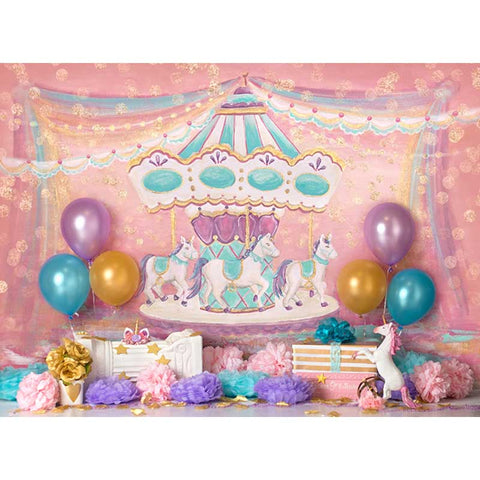 Horizontal Fairy Tale Paint Carousel Ribbon Unicorn Balloon Birthday Backdrop Photography Studio Background