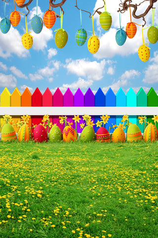 Flowers Grass Colored Easter Eggs Decoration Backdrop Photo Studio Background