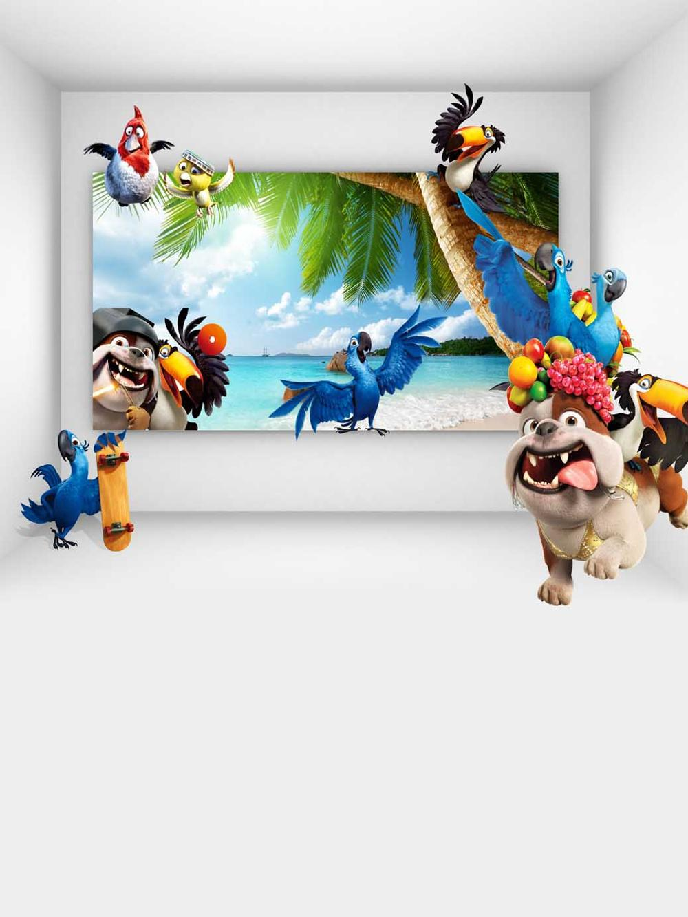 3D Cartoon Animals Backdrop For Children Photography Studio Background