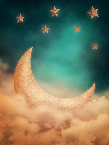 Cartoon Moon Stars Sky Backdrop Photography Studio Background Yamefoto