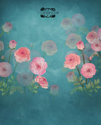 Pink Rose Flowers Newborns Painting Fotografia Backdrop Props Photography Studio Background