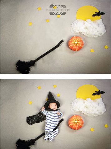 Halloween Pumkin Besom Full Moon Baby Backdrop Photography Studio Background