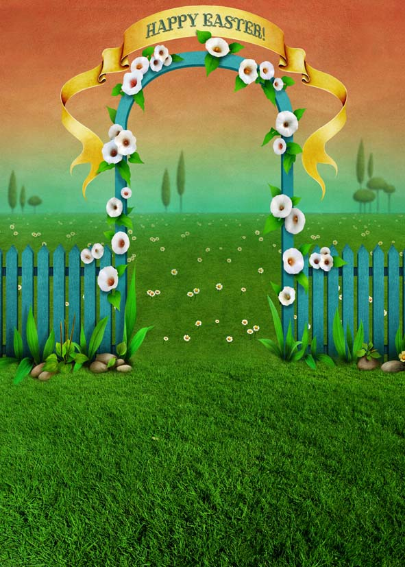 Cartoon Wood Door Flowers Kids Children Happy Easter Backdrop Photography Props Studio Background