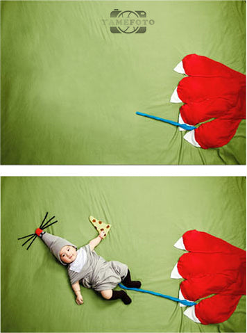 Red Flower Green Background Baby Backdrop Photography Studio Background