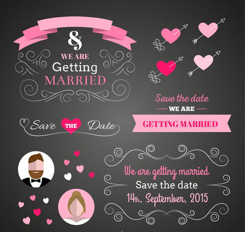 black background pink decorations wedding save the day backdrop
