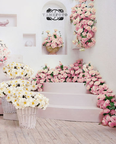 Pink Yellow Roses Flower Wedding Fotografia Backdrop Photography Studio Background
