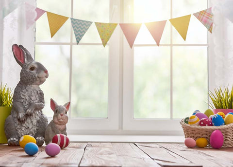 Rabbits Eggs Flags Bunting Easter Window Backdrop Photography Props Studio Background