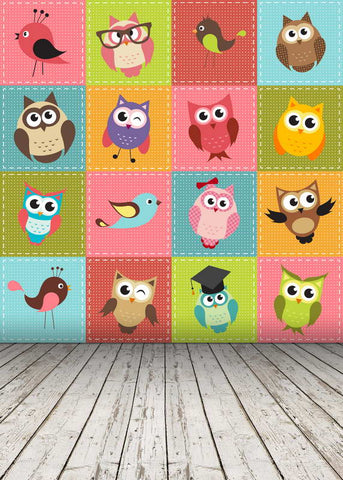 Colored Cartoon Owls Bird Backdrop For Children Photography Studio Background
