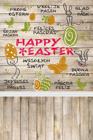 Wood Wall Floor Graffiti Easter Eggs Rabbits Happy Easter Backdrop Photography Props Studio Background