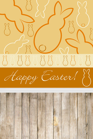 Abstract Yellow Sketch Easter Rabbits Wood Backdrop Photography Props Studio Background