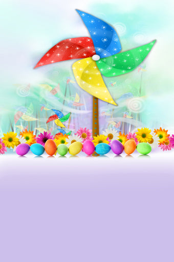 Cartoon Colored Pinwheels Flowers Easter Eggs Decoration Kids Children Happy Easter Backdrop Photo Studio Background