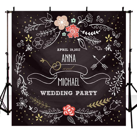 black background retro elements wedding party backdrop