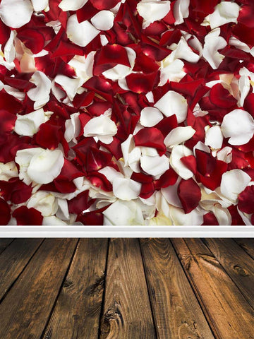 Red White Rose Floral Wood Backdrop Photo Studio Background