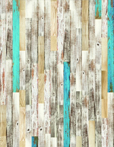 Blue Yellow Brown Plank Board Wood Floor Backdrop Photo Studio Background