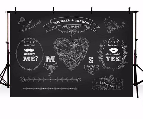 black background wedding chalks decorations backdrop