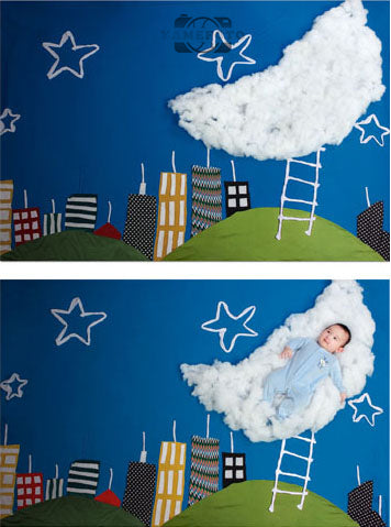 Cartoon City White Moon Star Baby Backdrop Photography Studio Background