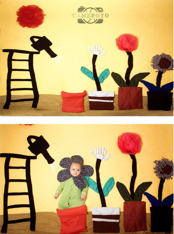 Cartoon Flowers Stair Baby Backdrop Photography Studio Background