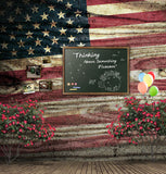 Red Flower American Flag Wood Wall Backdrop Photography Studio Background