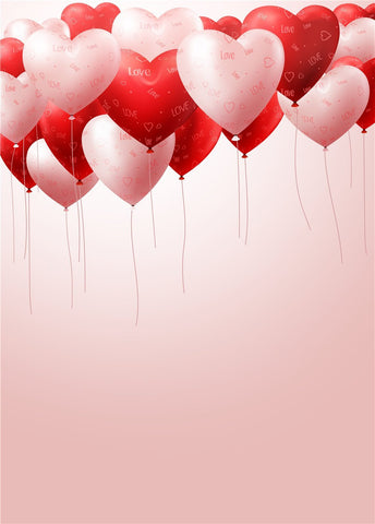 Red Pink Hearts Balloons For Kids Birthday Backdrop Valentine Backdrop Photography Props Studio Background