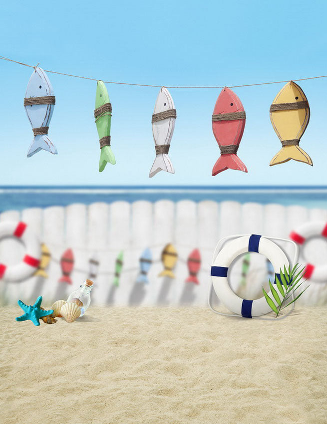 Colored Wood-made Fishbones Seaside Beach Backdrop Photography Studio Background