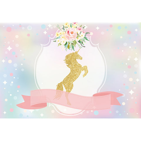 Horizontal Gold Unicorn Birthday Party Photography Studio Backdrop Background