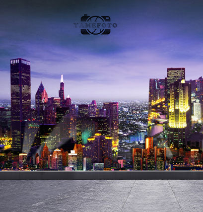Night Modern City Landscape Backdrop Photography Studio Background