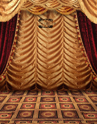 Vinyl Vintage Red Golden Curtains Stage Backdrop Photo Studio Background