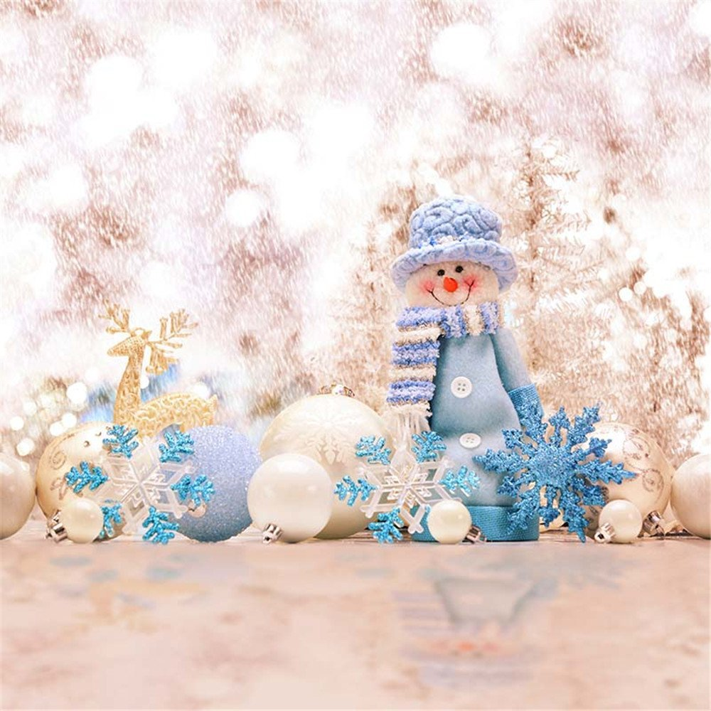 White Gold Bokeh Blue Snowflakes Snowman Toy Winter Backdrop Photo Props Studio Background